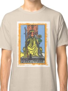 Queen Of Wands Tarot Card Blue Classic T-Shirt