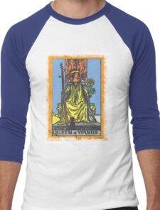 Queen Of Wands Tarot Card Blue Men's Baseball ¾ T-Shirt
