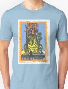Queen Of Wands Tarot Card Blue T-Shirt