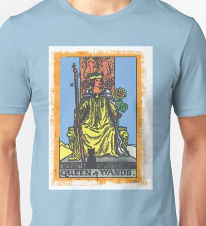 Queen Of Wands Tarot Card Blue Unisex T-Shirt