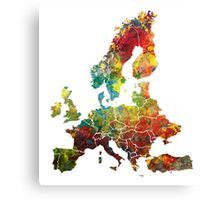 Map of the Europe Canvas Print