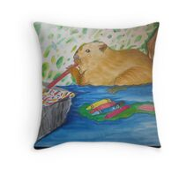 Beav. loves his water colors Throw Pillow