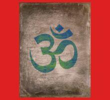 Om Ohm Yoga Namaste Symbol -Green Blue Black  Kids Tee