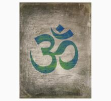 Om Ohm Yoga Namaste Symbol -Green Blue Black  One Piece - Short Sleeve