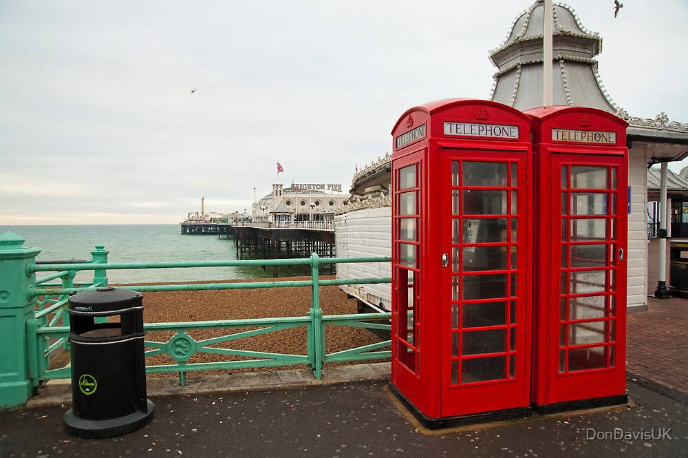 Red Phone Boxes: Brighton Pier, UK. by DonDavisUK