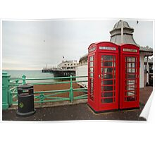 Red Phone Boxes: Brighton Pier, UK. Poster