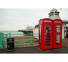 Red Phone Boxes: Brighton Pier, UK. Photographic Print