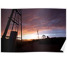 Windmill Sun Set Poster