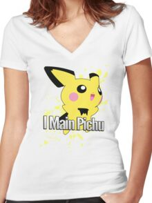 I Main Pichu - Super Smash Bros. Melee Women's Fitted V-Neck T-Shirt