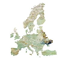 Map of the Europe Maps Photographic Print