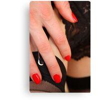red fingernails, black wine Canvas Print