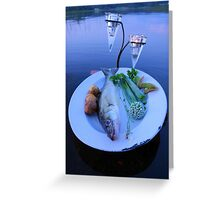 Fresh fish catch on a plate with vegetables Greeting Card