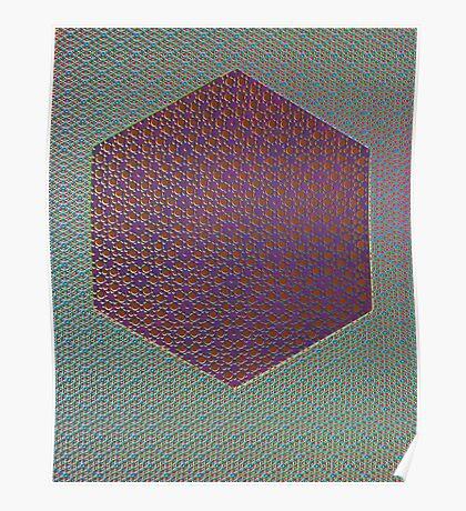 Silicon Atoms HyperCube Blue Purple Red Poster