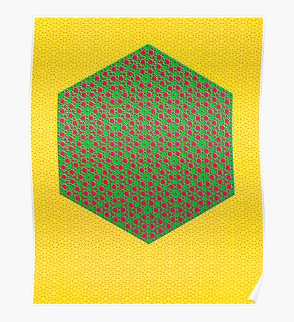 Silicon Atoms HyperCube Yellow Green Red Poster