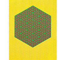 Silicon Atoms HyperCube Yellow Green Red Photographic Print