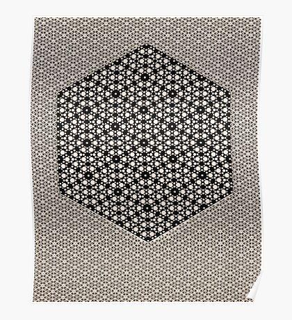 Silicon Atoms HyperCube Black White Poster