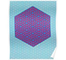 Silicon Atoms HyperCube Blue Pink Poster