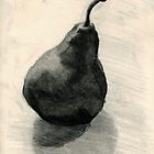 Pear, still life in charcoal and pencil by Emma Brooks-Mitrou