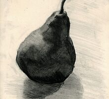 Pear, still life in charcoal and pencil by Emma Brooks