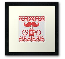 Santa's Stache Over Red Midnight Snack Knit Style Framed Print
