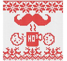 Santa's Stache Over Red Midnight Snack Knit Style Photographic Print