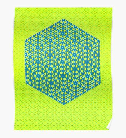 Silicon Atoms HyperCube Yellow Blue Poster