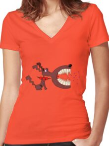 Angry DOG Women's Fitted V-Neck T-Shirt
