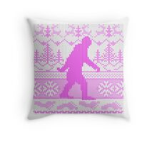Gone Squatchin Ugly Christmas Sweater Knit Style Throw Pillow