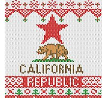 California Republic Bear on Christmas Ugly Sweater Photographic Print