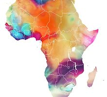 Africa map 7 watercolor by JBJart