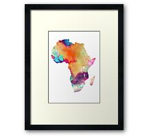 Africa map 7 watercolor Framed Print
