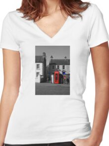 Red With A Hint Of Blue Women's Fitted V-Neck T-Shirt