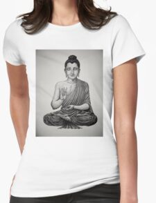 Buddha pen drawing black/white Womens Fitted T-Shirt