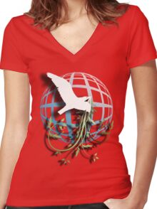Bird & Vines Women's Fitted V-Neck T-Shirt