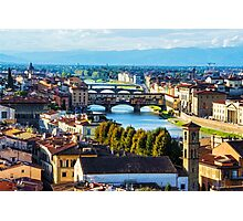 Impressions Of Florence - Arno River And The Bridges From Above Photographic Print