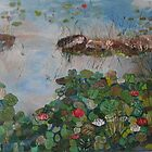 Back yard pond Timmins ont.Canada.18x24 acrylic on canvas. by eoconnor