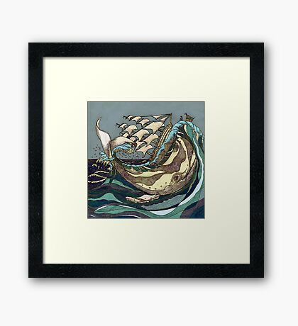 Leviathan Strikes - Whale, Sea and Sailing Ship Framed Print
