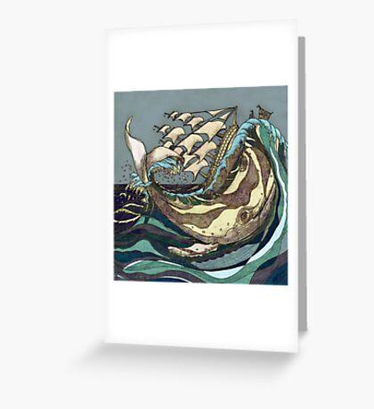 Leviathan Strikes - Whale, Sea and Sailing Ship Greeting Card