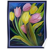 Tulips and insects Poster