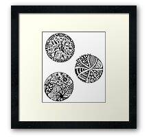 Three Circles - Black & White Framed Print