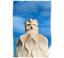 Chimney on Roof of Casa Mila, Barcelona, Spain  Poster