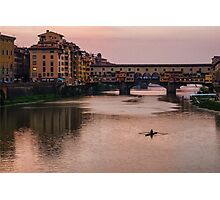 Impressions Of Florence - Ponte Vecchio Rowing In Pink Photographic Print