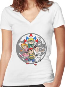 Earthbound w/ Background Women's Fitted V-Neck T-Shirt