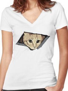 Ceiling Cat Watches You, LOLCat Favorite Women's Fitted V-Neck T-Shirt
