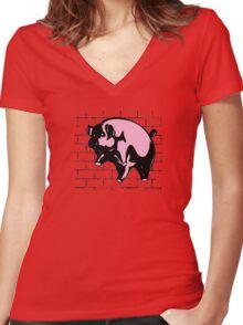 Flying Pig Women's Fitted V-Neck T-Shirt
