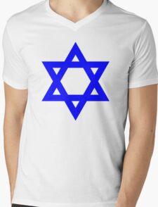Star of David, blue and thick Mens V-Neck T-Shirt