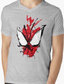 Spiderman Splatter Mens V-Neck T-Shirt