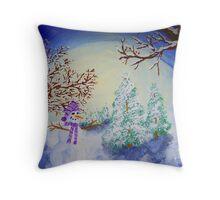 Moonlit Snowman Throw Pillow