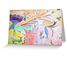 Abstract With Birds Greeting Card