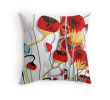 Rustic Poppy meets saturated brights  Throw Pillow